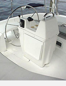 Sunbrella Cadet Grey Pedestal Wheel Cover Custom Made