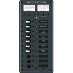 DC 10 Position Circuit Breaker Panel - with Volt/Amp Analog Meters image