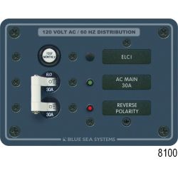 ELCI Main 30A Double Pole Circuit Breaker Panel - with 2 Circuit Breaker Positions and Voltmeter image