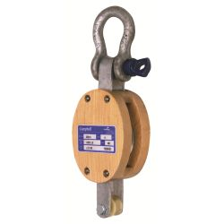 76 mm Wood Shell Double Block - Becket, Shackle image