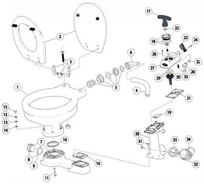 Jabsco Manual Toilet - Spare Parts image