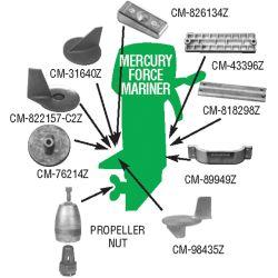 Mercury Force/Mariner Outboard Bar Anode - Zinc image