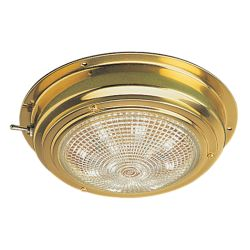 6-3/4 in. LED Brass Dome Light - Cool White, 5 in. Lens image