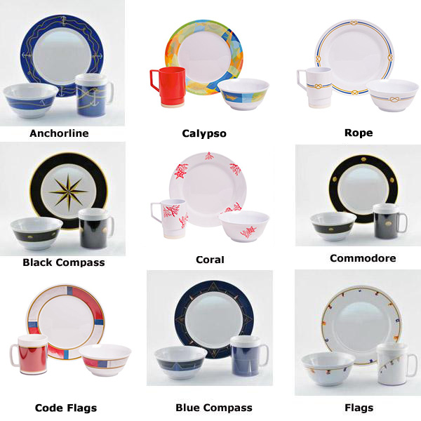 Gift Sets of Patterned, Non-skid Dishware with choice of Drinkware image